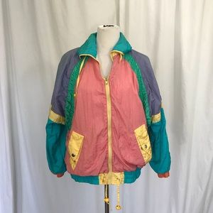 Vintage 80s Multicolor Nylon Windbreaker Jacket L
